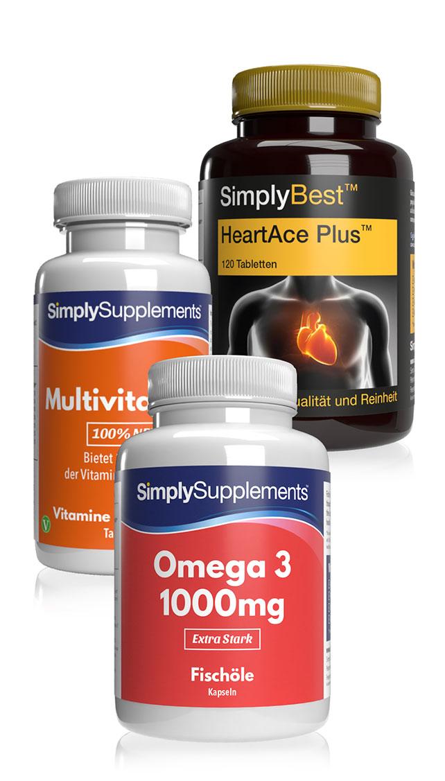 Bündel mit HeartAcePlus, Omega 3 & Multivitaminen