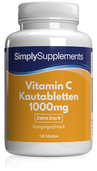 Vitamin C Kautabletten 1000mg mit Orangengeschmack